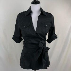 DVF Diane Bon Furstenberg black wrap blouse